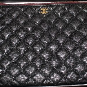CHANEL Bags - Authentic Chanel Black Caviar Quilted OCase Clutch